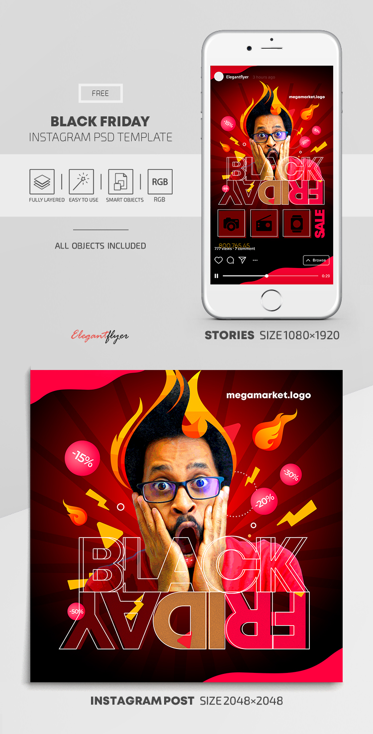 Black Friday – Free Instagram Stories Template in PSD + Post Template
