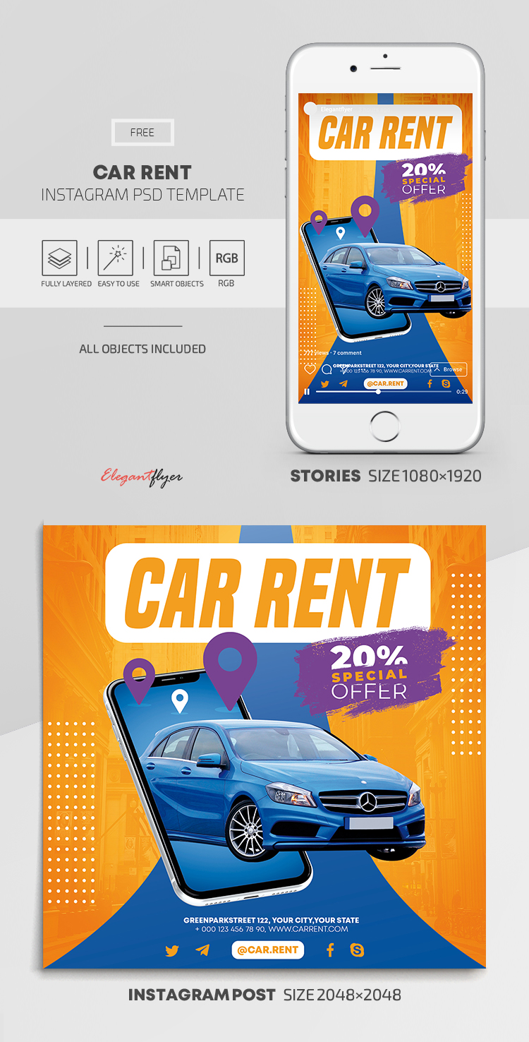 Car Rent – Free Instagram Stories Template in PSD + Post Templates