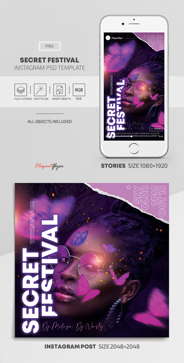 Secret Festival – Free Instagram Stories Template in PSD + Post Templates