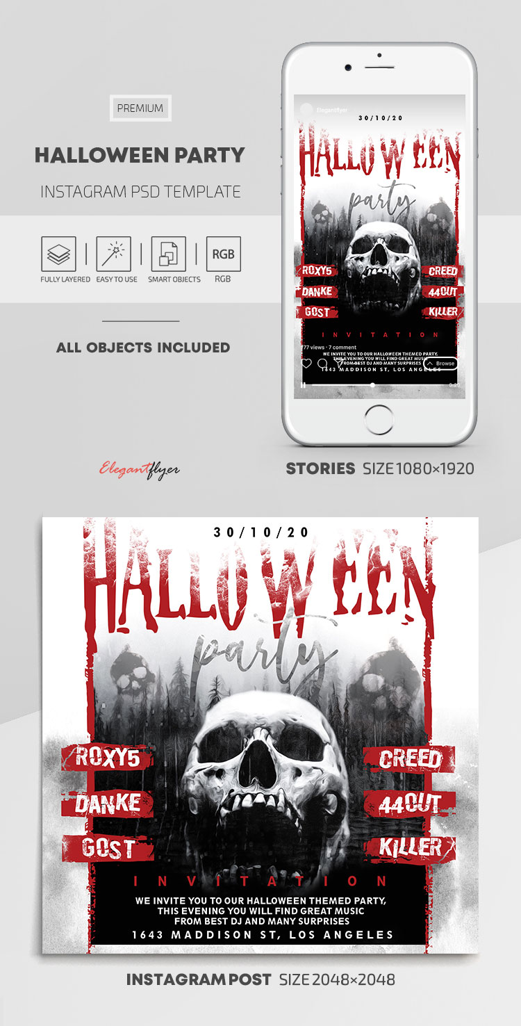 Halloween Party – Instagram Stories Template in PSD + Post Templates