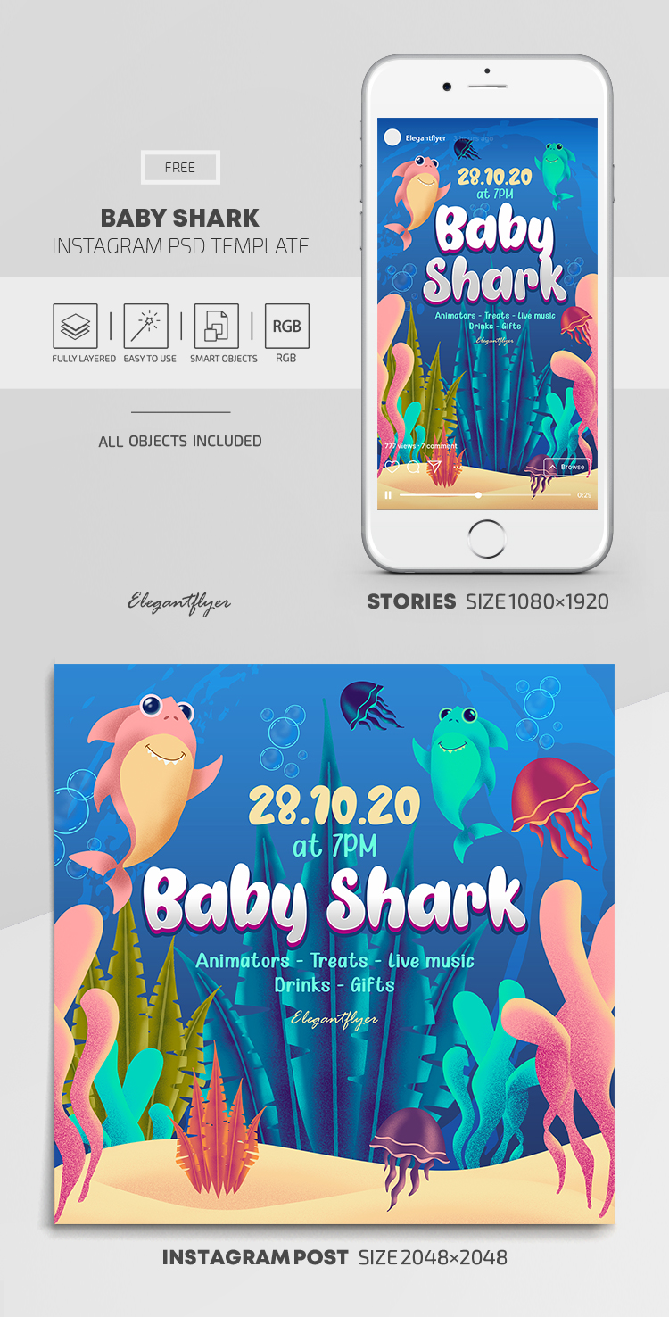 Baby Shark – Free Instagram Stories Template in PSD + Post Templates