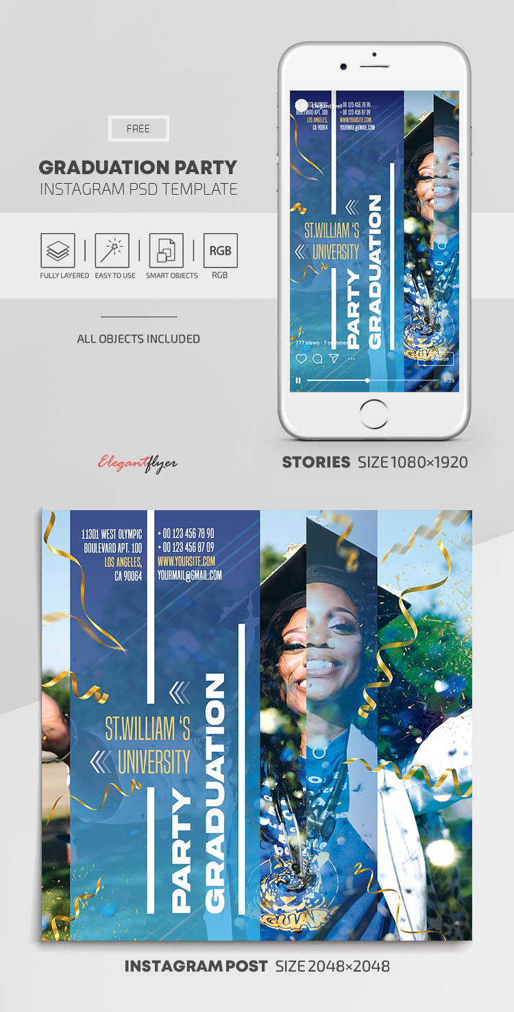 Graduation Party – Free Instagram Stories Template in PSD + Post Templates
