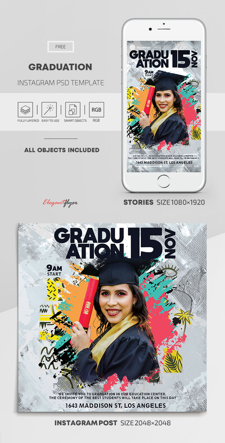 Graduation – Free Instagram Stories Template in PSD + Post Templates