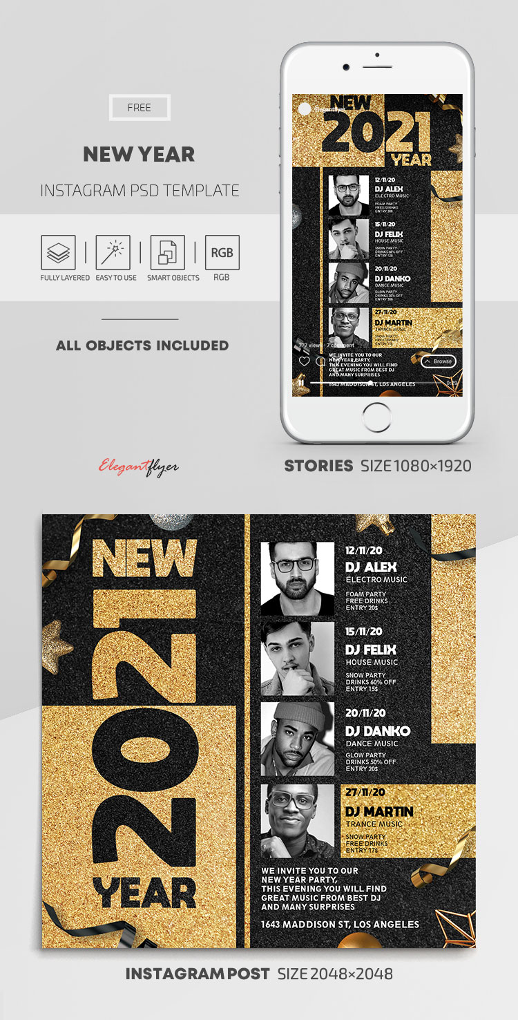 New Year – Free Instagram Stories Template in PSD + Post Templates