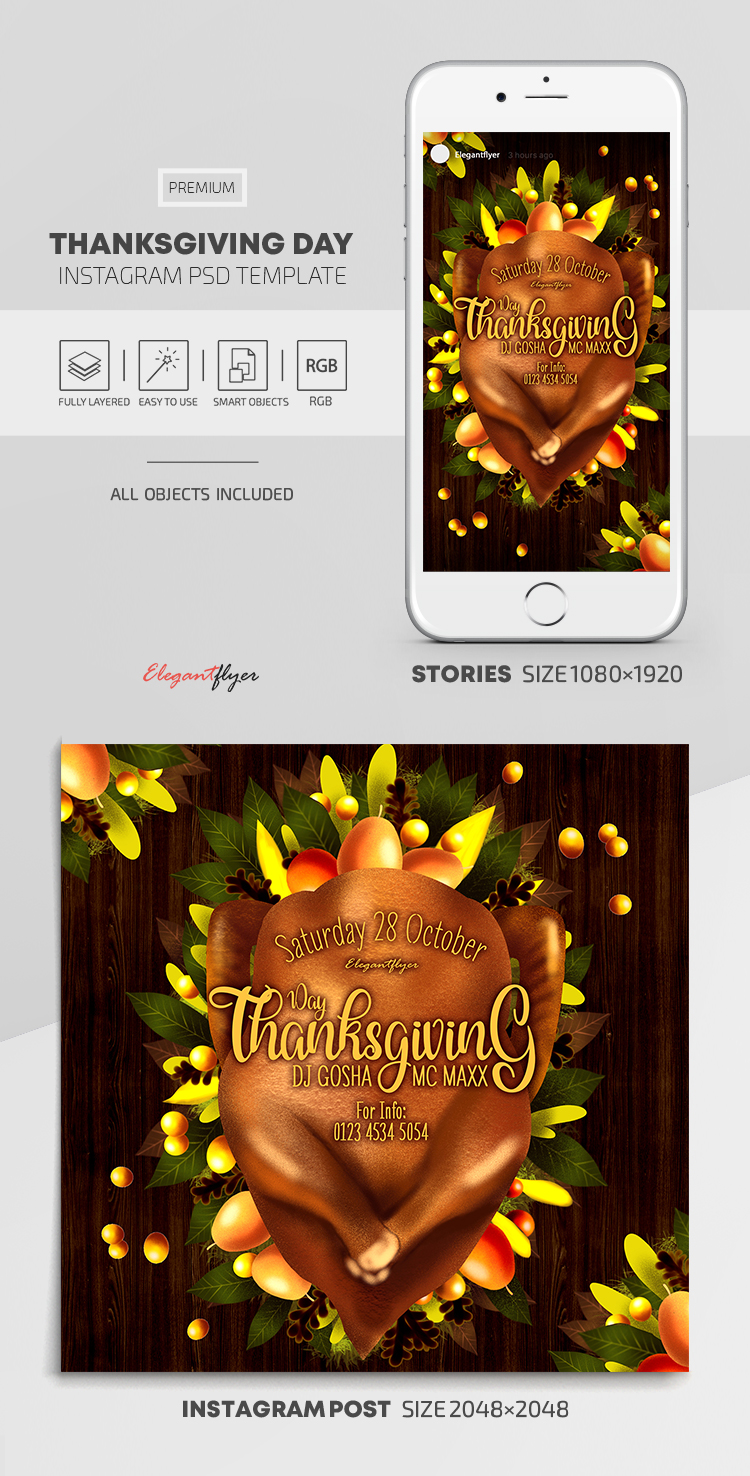 Thanksgiving – Instagram Stories Template in PSD + Post Templates