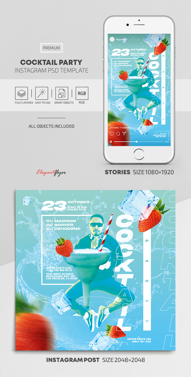 Cocktail Party – Instagram Stories Template in PSD + Post Templates