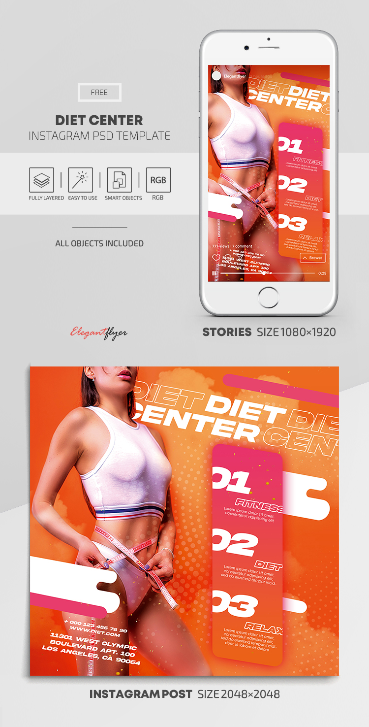Diet Center – Free Instagram Stories Template in PSD + Post Templates