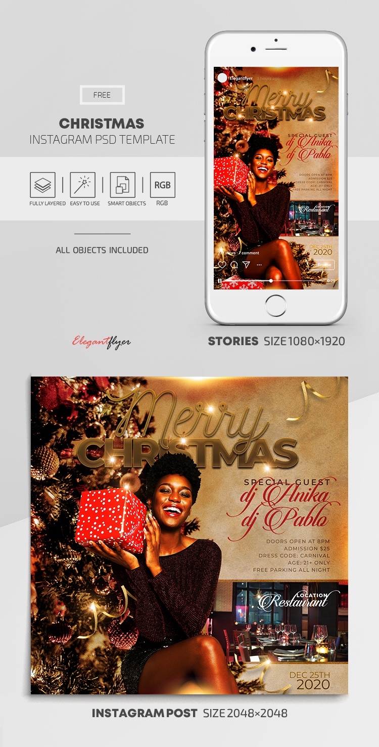 Christmas – Free Instagram Stories Template in PSD + Post Templates