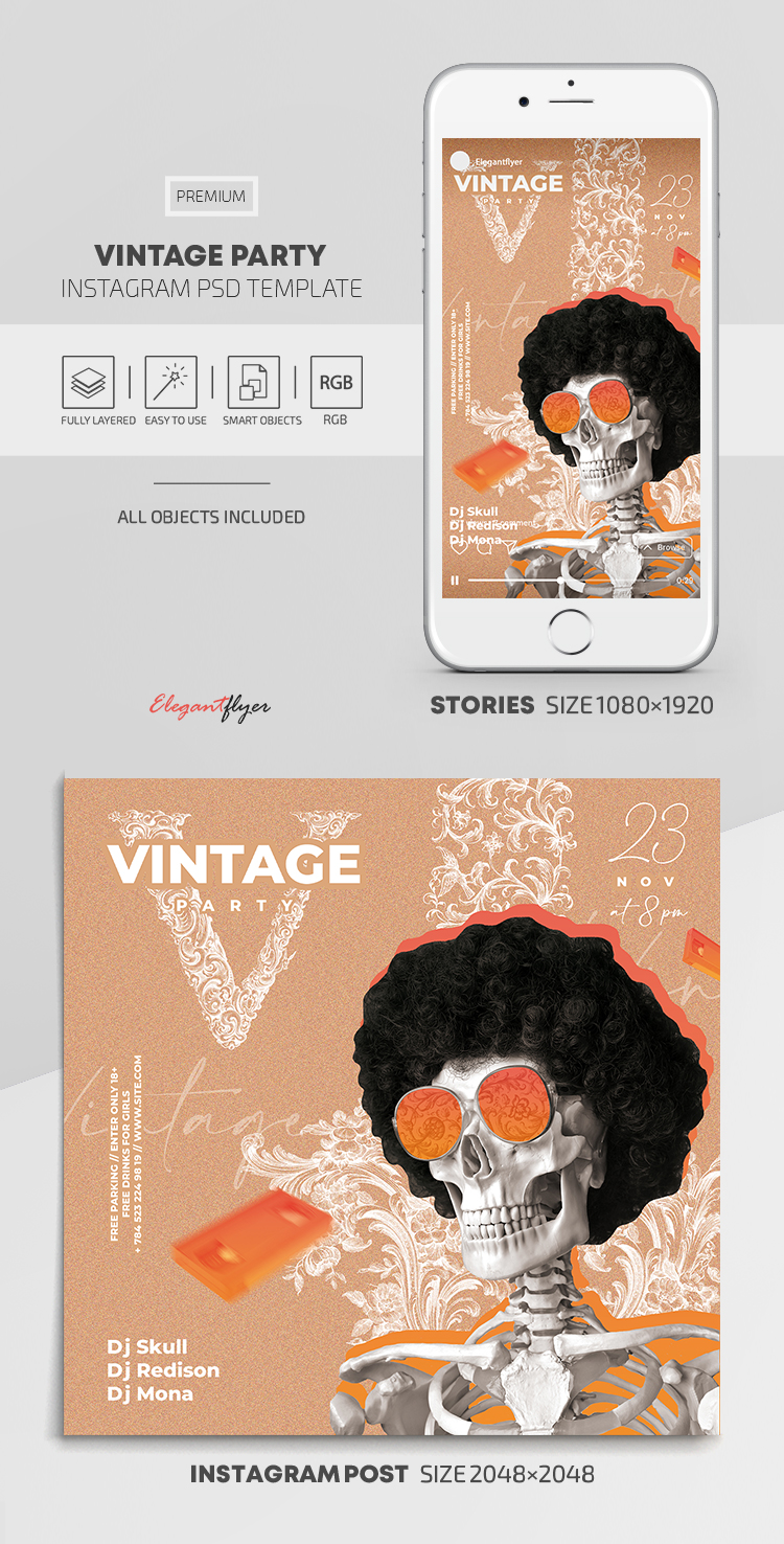 Vintage Party – Instagram Stories Template in PSD + Post Templates