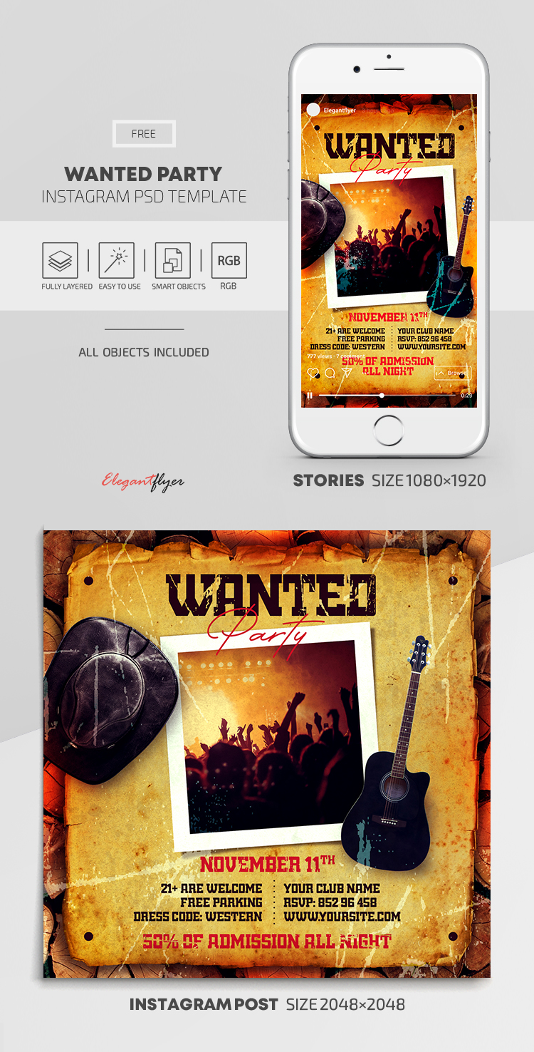 Wanted Party – Free Instagram Stories Template in PSD + Post Template