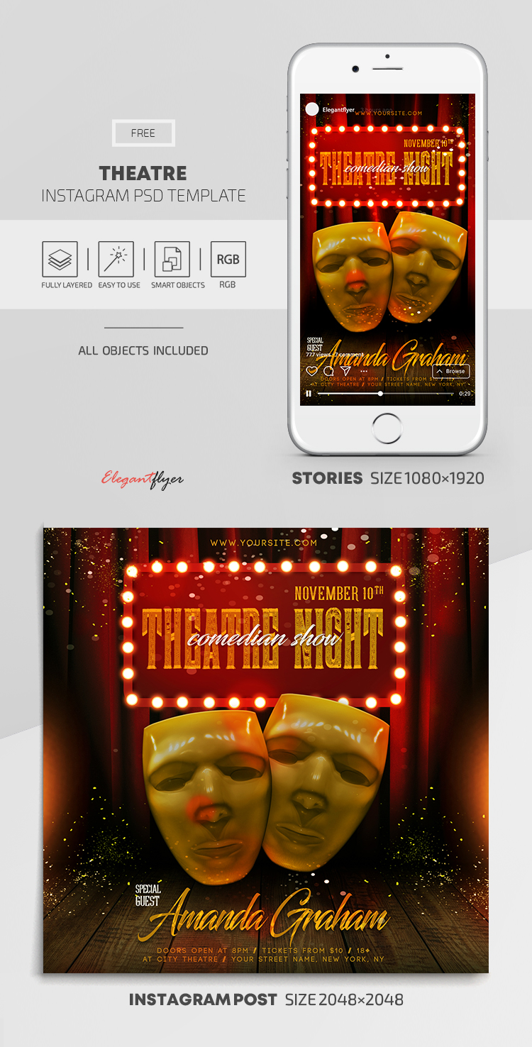 Theatre – Free Instagram Stories Template in PSD + Post Template
