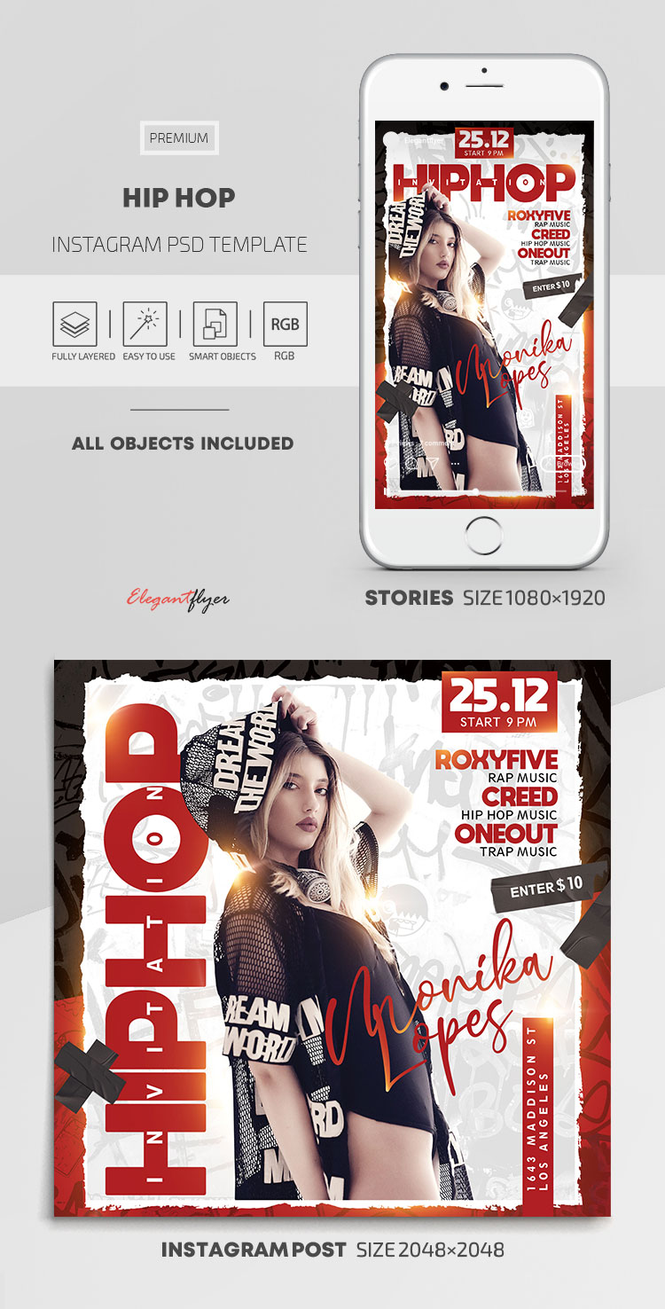 Hip Hop – Instagram Stories Template in PSD + Post Templates