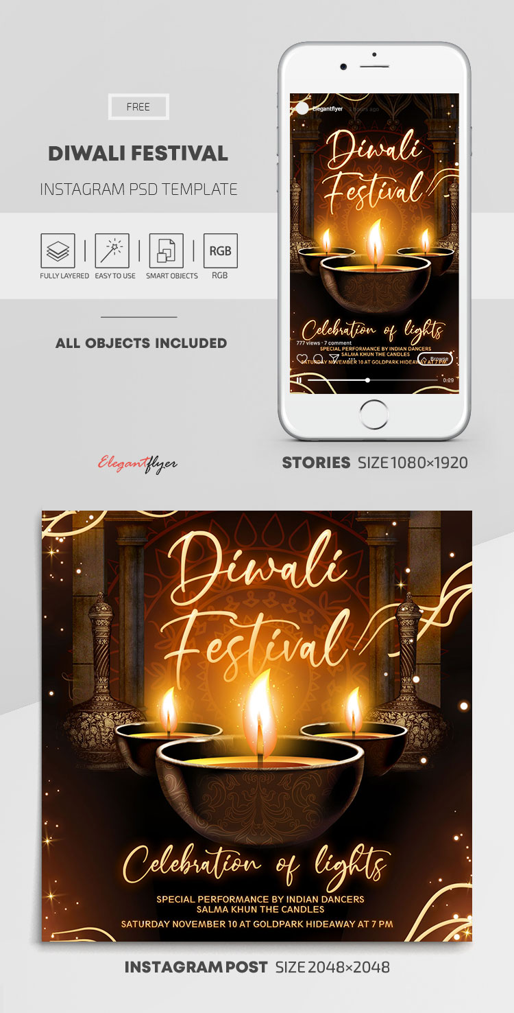 Diwali Festival – Free Instagram Stories Template in PSD + Post Template