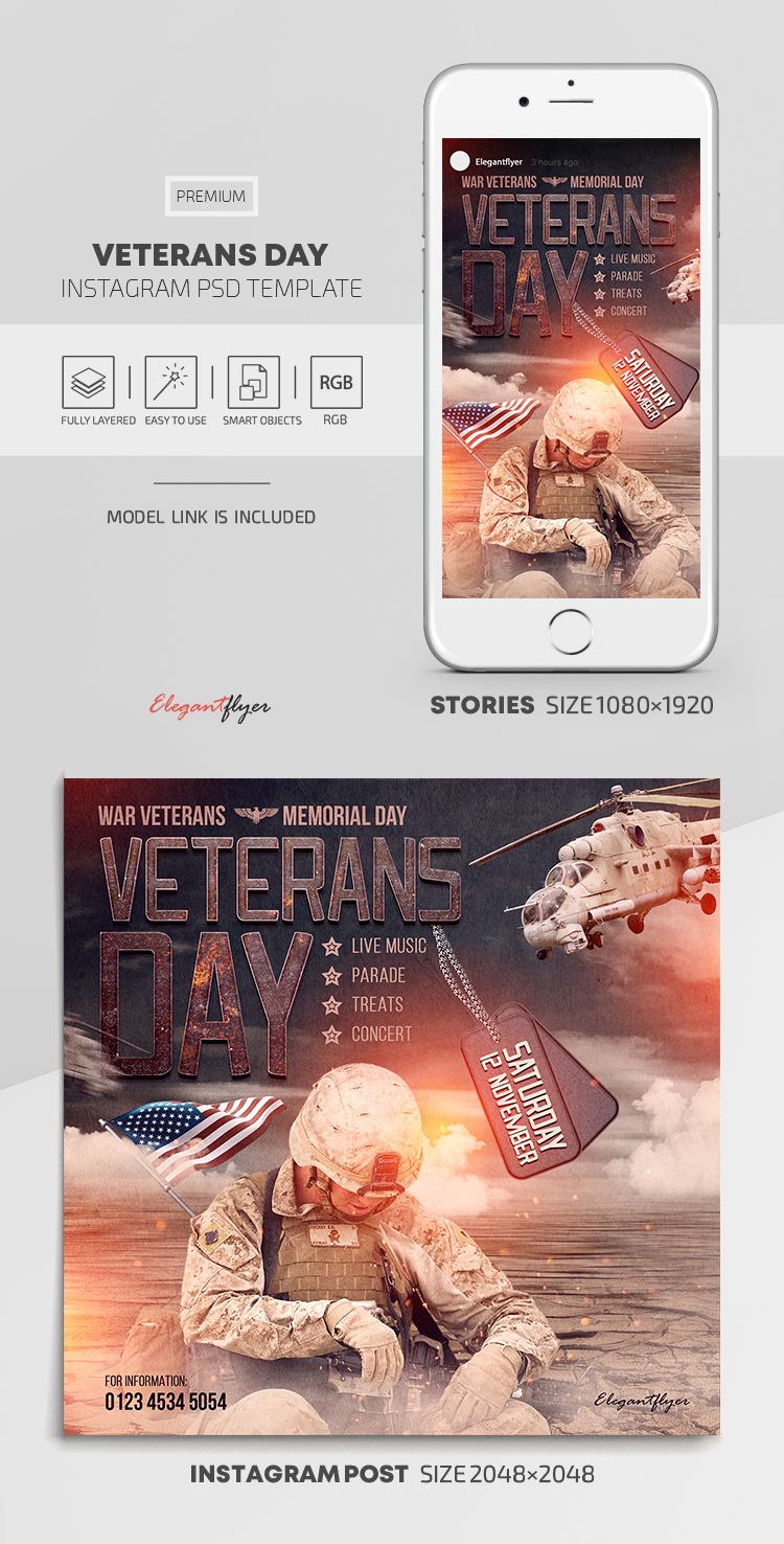Veterans Day – Instagram Stories Template in PSD + Post Templates
