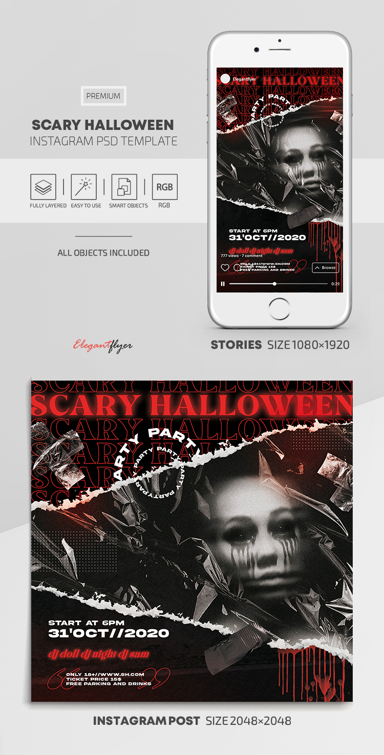 Scary Halloween – Instagram Stories Template in PSD + Post Templates