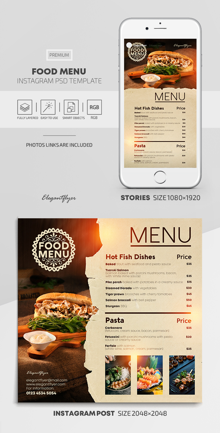 Food Menu – Instagram Stories Template in PSD + Post Templates