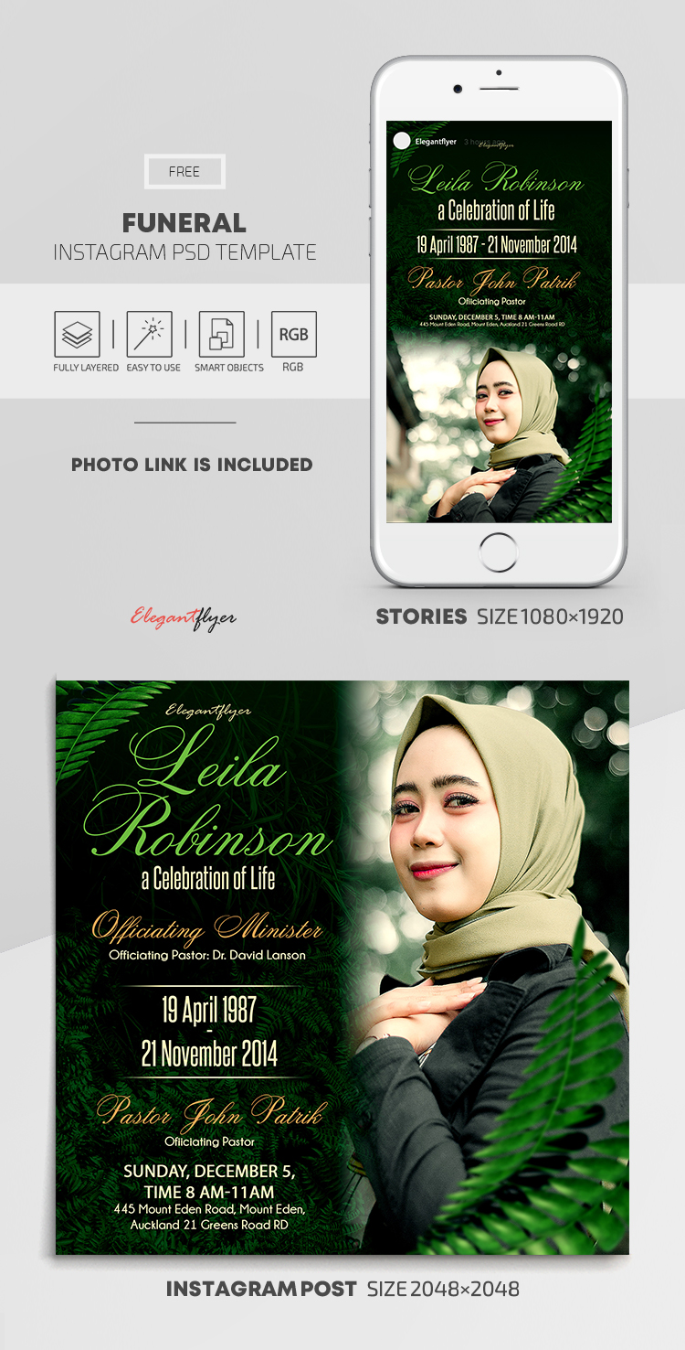 Funeral – Free Instagram Stories Template in PSD + Post Template
