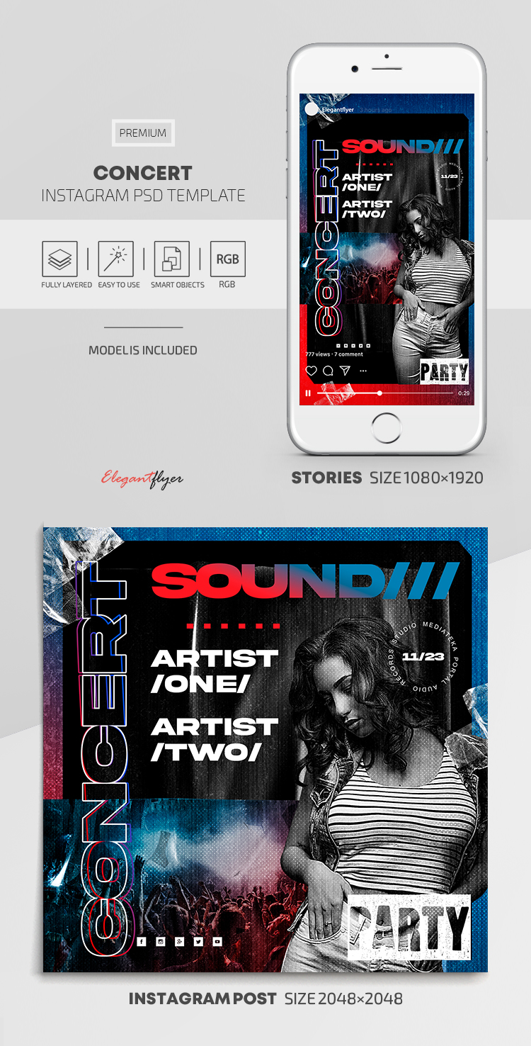 Concert – Instagram Stories Template in PSD + Post Templates