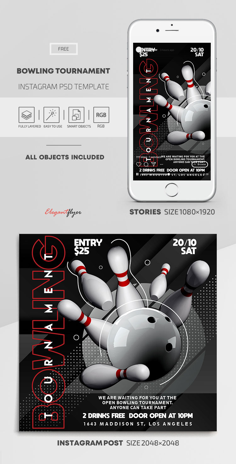 Bowling Tournament – Free Instagram Stories Template in PSD + Post Templates