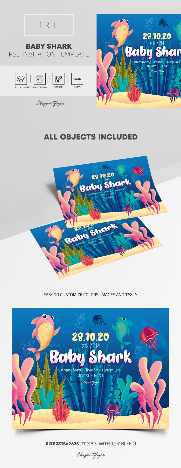 Free Baby Shark Invitation PSD Template
