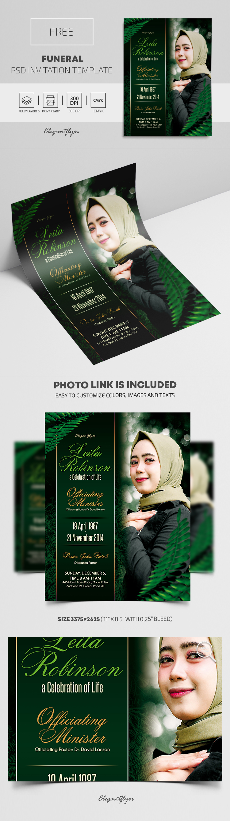 Free Funeral Invitation PSD Template