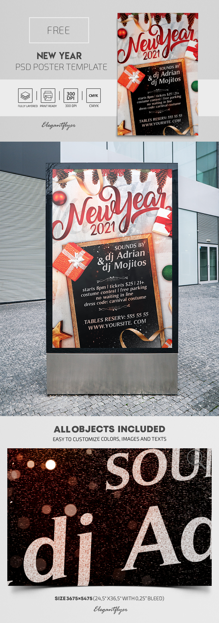 New Year – Free PSD Poster Template