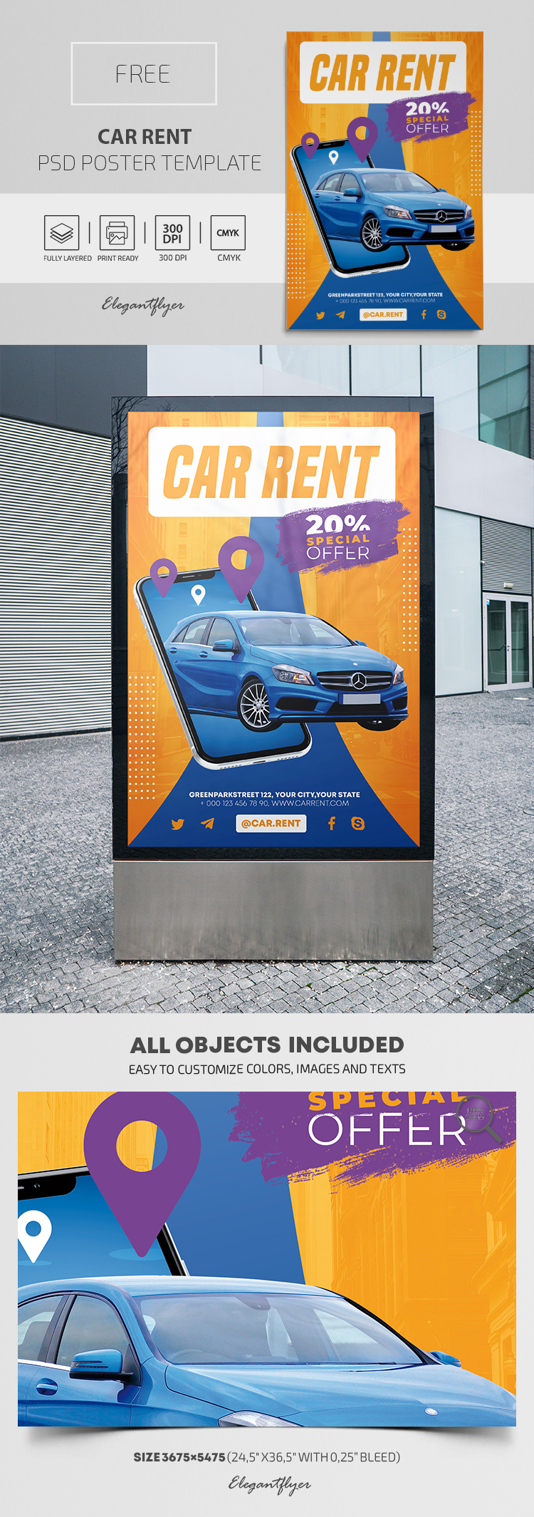 Car Rent – Free PSD Poster Template