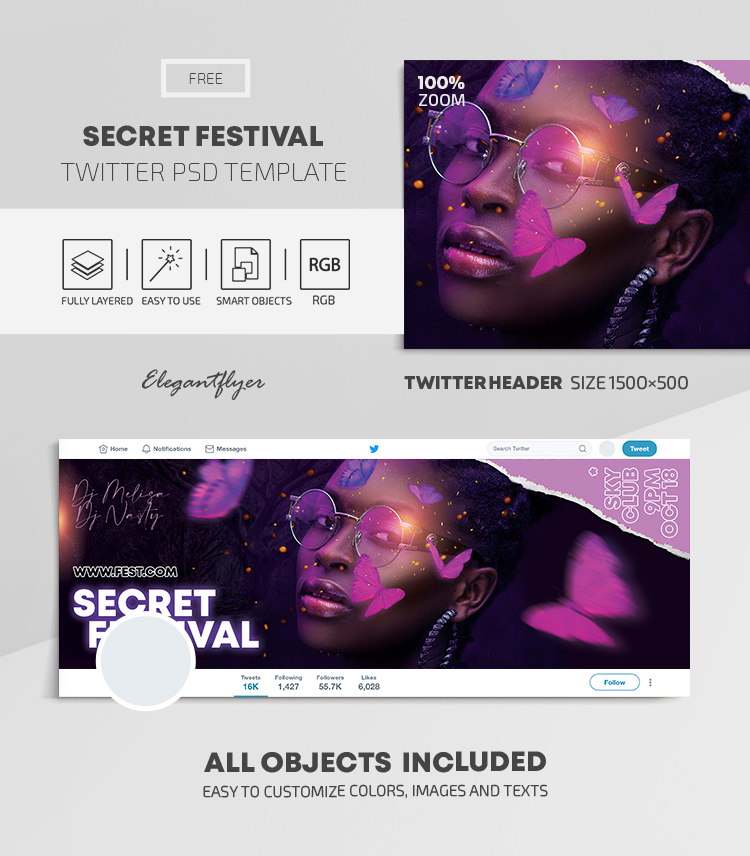 Secret Festival – Free Twitter Header PSD Template