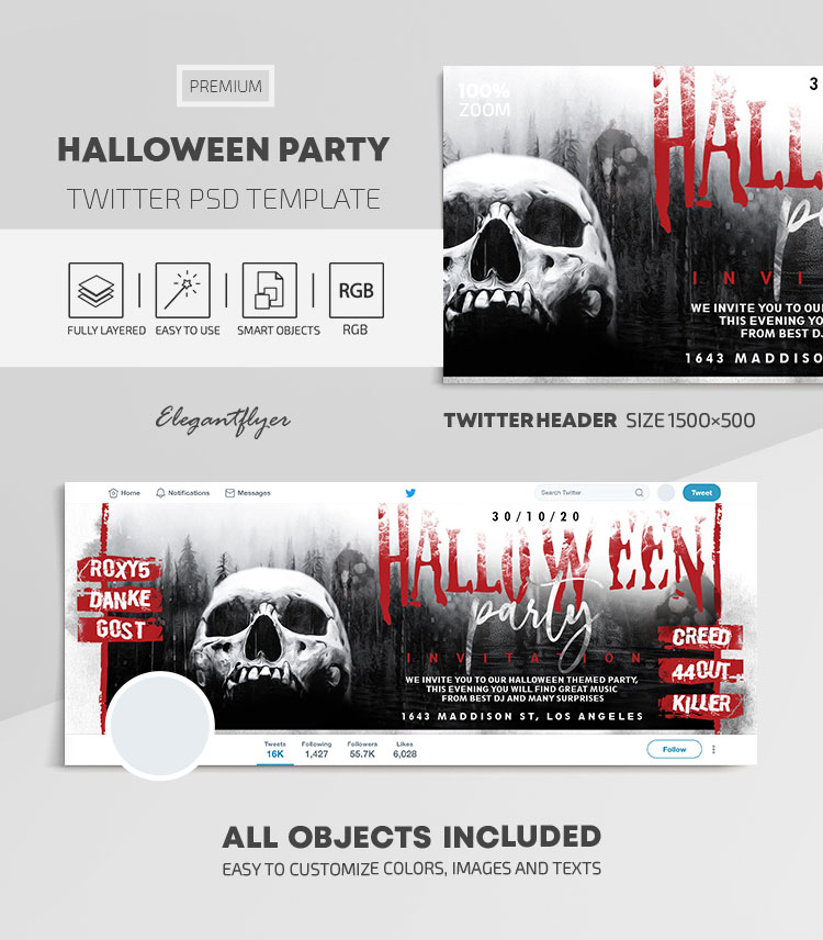 Halloween Party – Twitter Header PSD Template