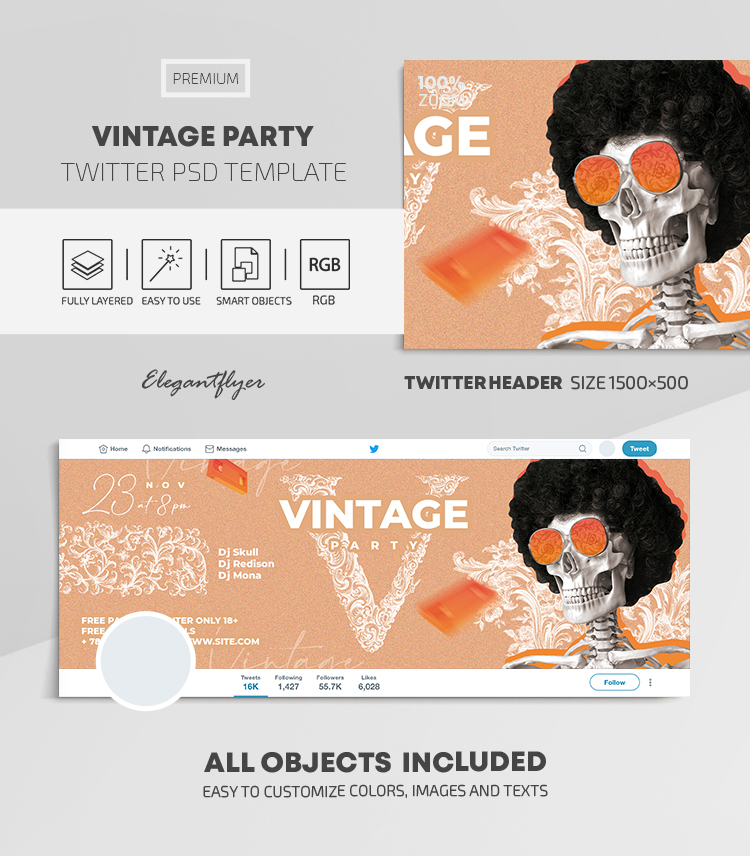 Vintage Party – Twitter Header PSD Template