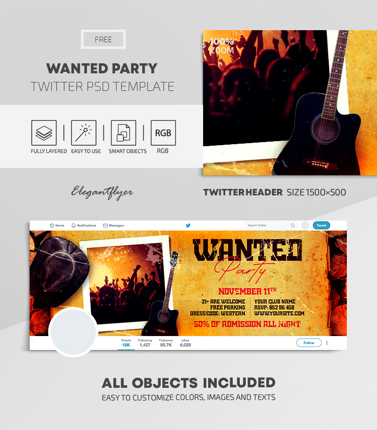 Wanted Party – Free Twitter Header PSD Template