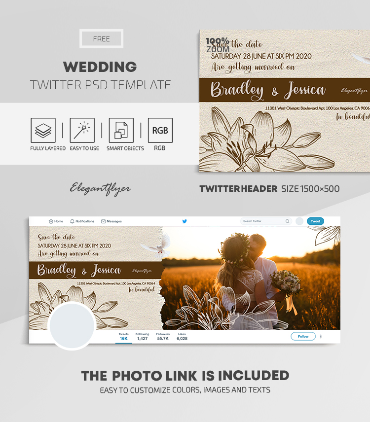 Wedding – Free Twitter Header PSD Template