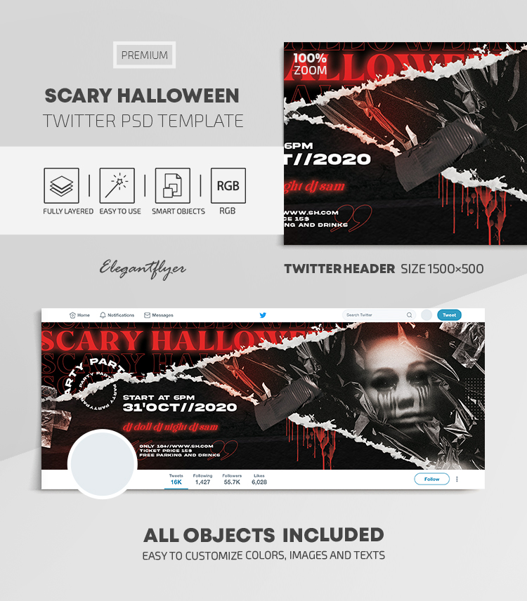 Scary Halloween – Twitter Header PSD Template