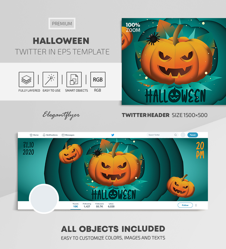 Halloween – Twitter Header EPS Template