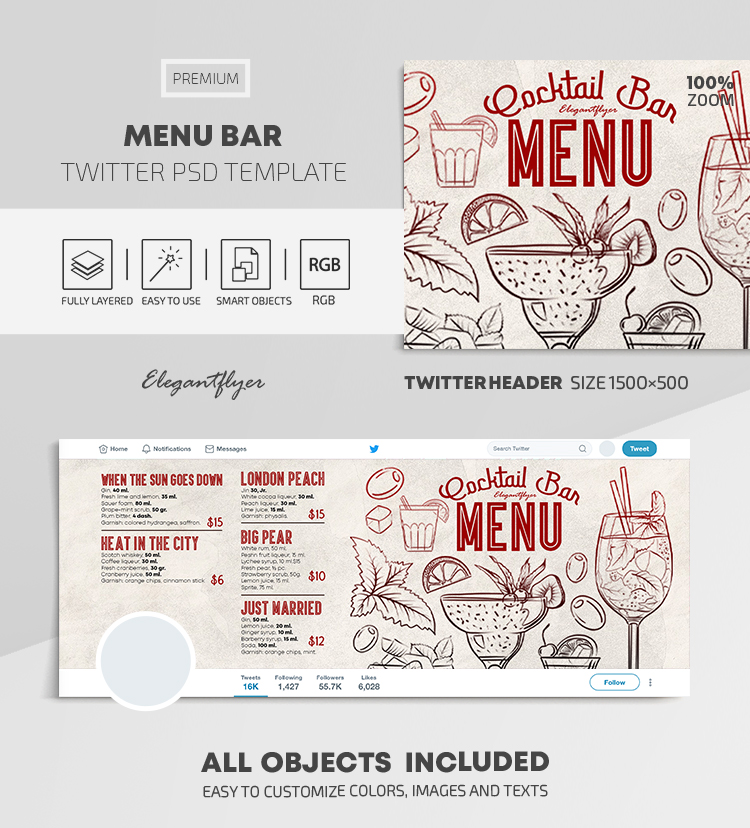 Menu Bar – Twitter Header PSD Template