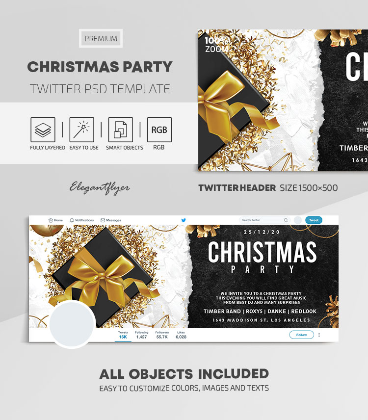 Christmas Party – Twitter Header PSD Template