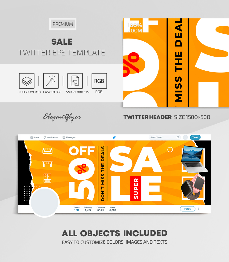 Sale – Twitter Header EPS Template