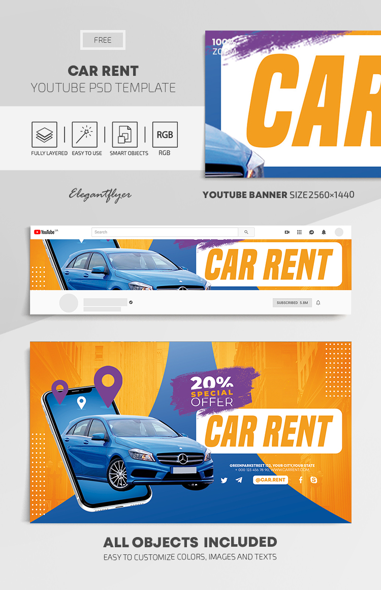 Car Rent – Free Youtube Channel banner PSD Template