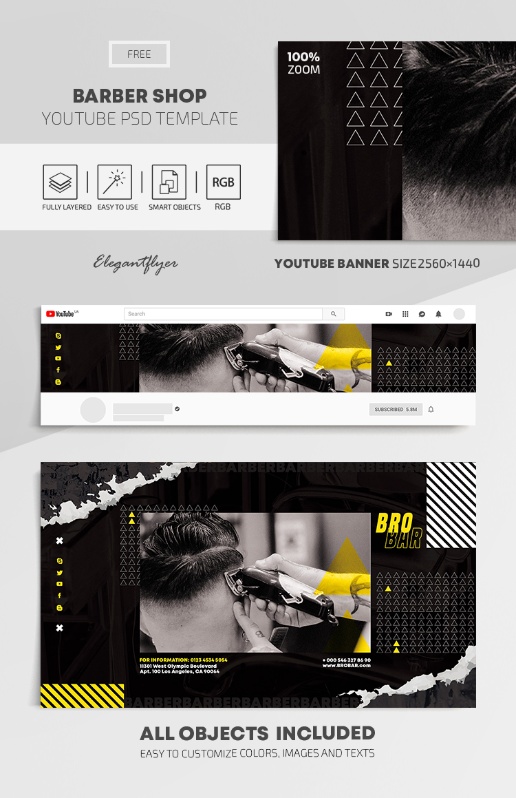 Barber Shop – Free Youtube Channel banner PSD Template