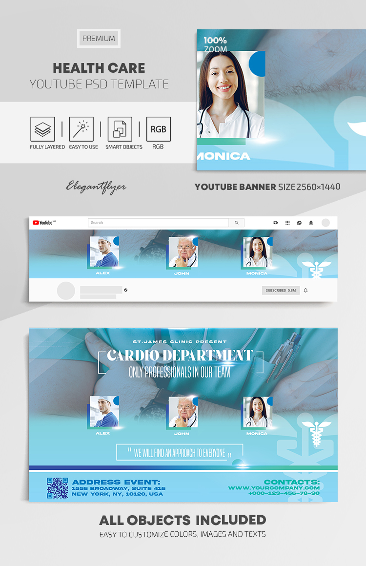 Health Care – Youtube Channel banner PSD Template