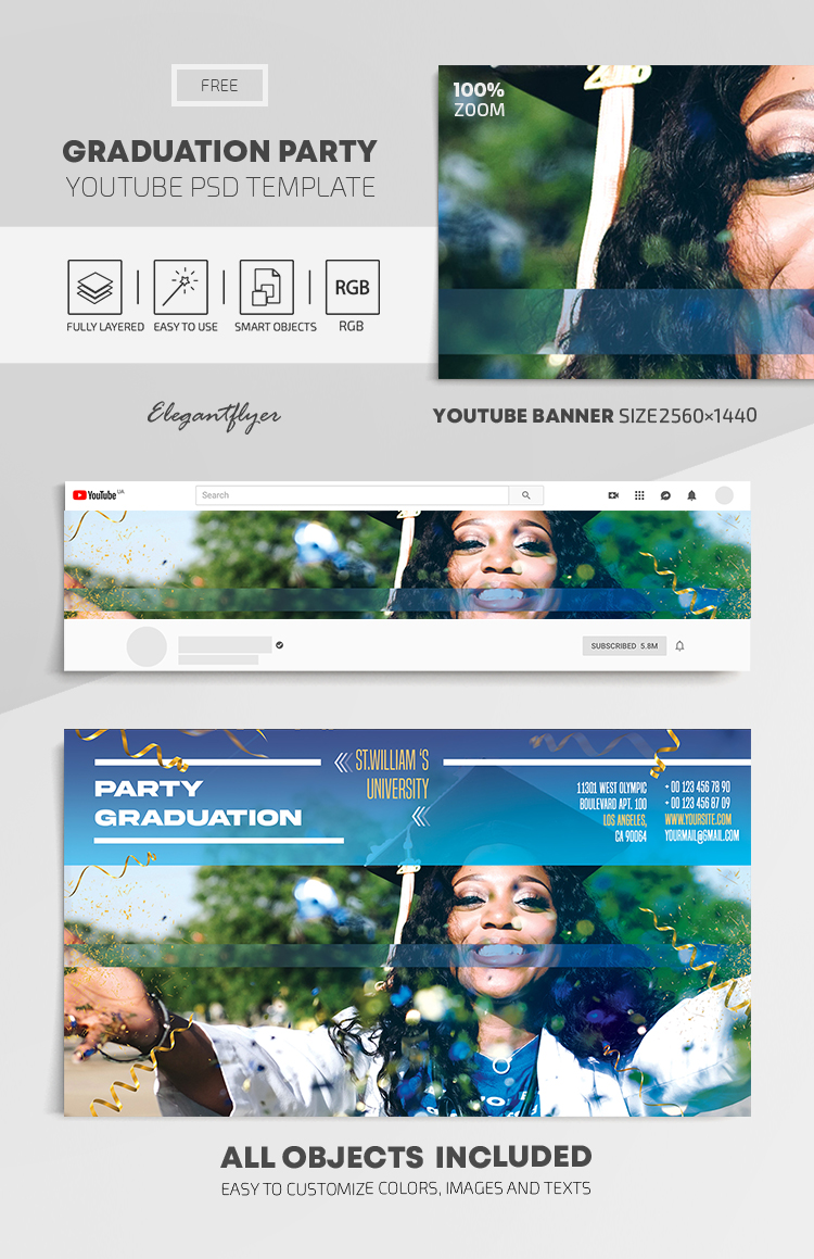 Graduation Party – Free Youtube Channel banner PSD Template
