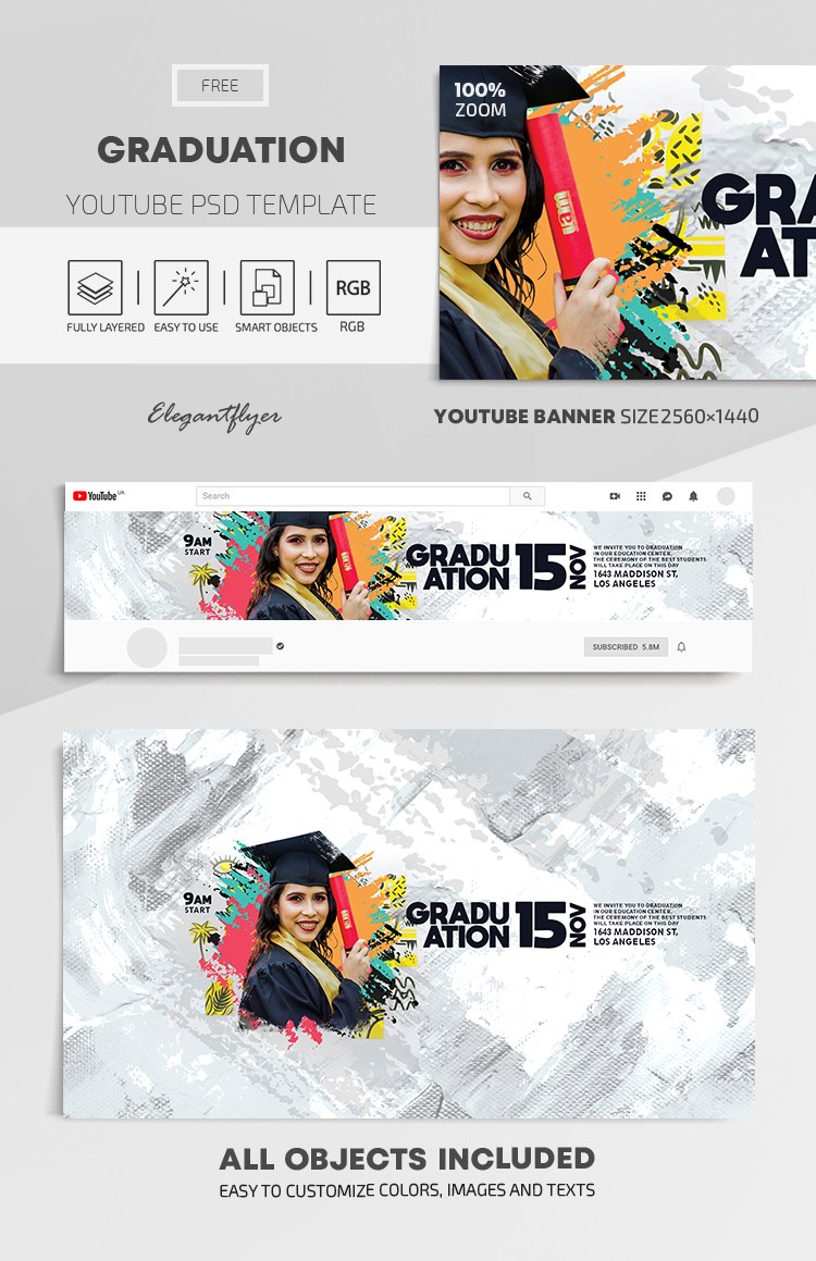 Graduation – Free Youtube Channel banner PSD Template