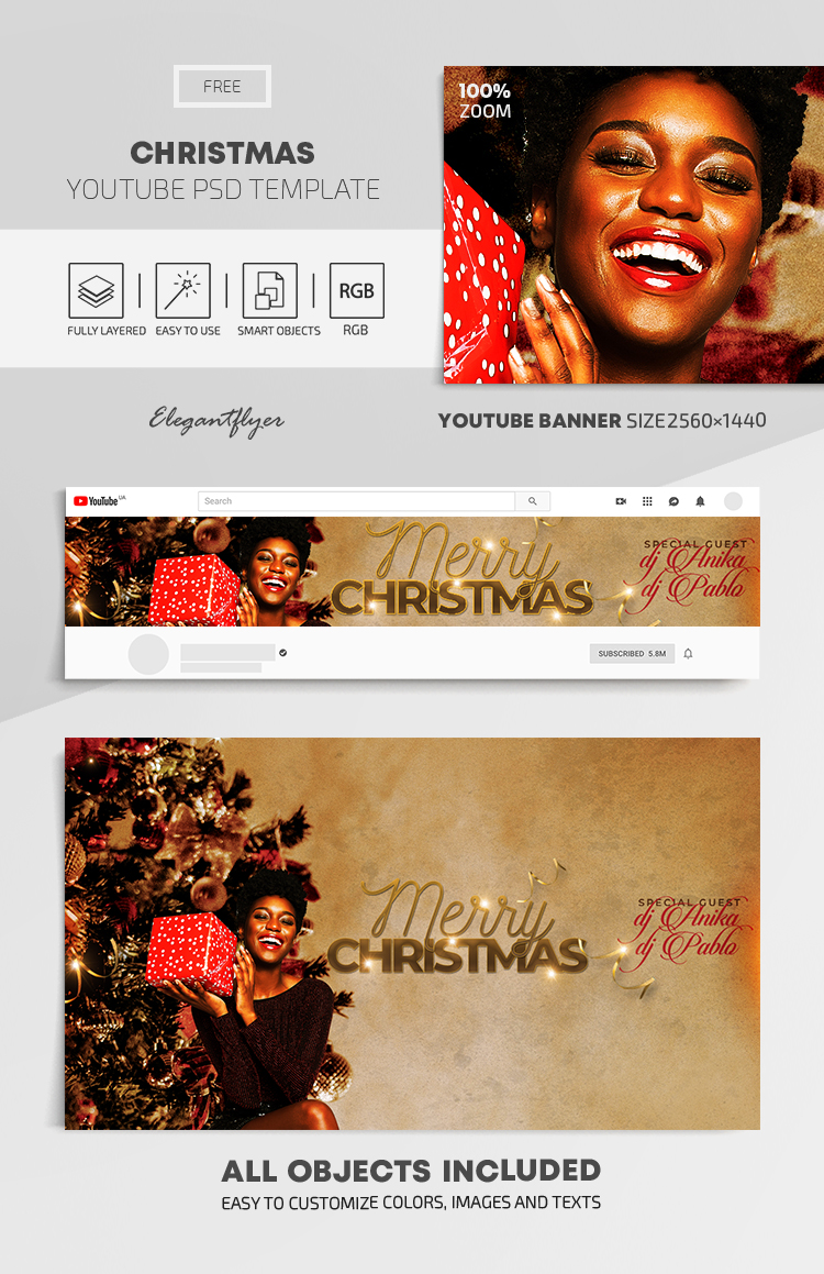 Christmas – Free Youtube Channel banner PSD Template
