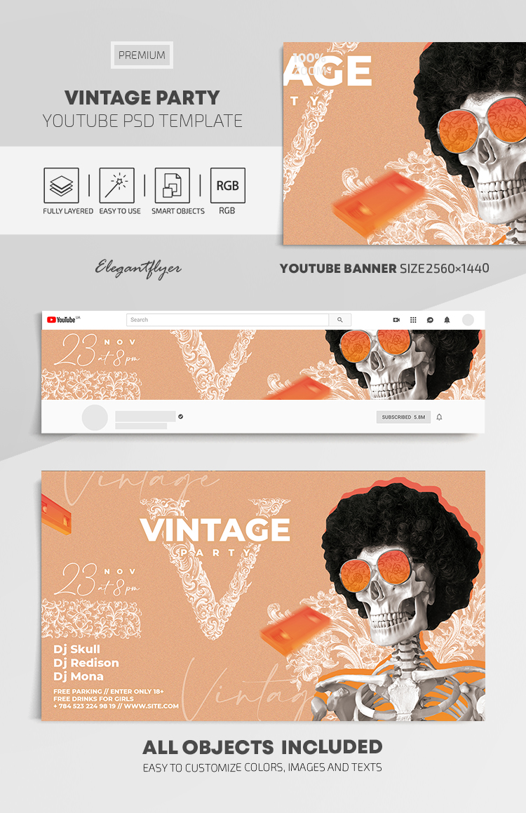 Vintage Party – Youtube Channel banner PSD Template