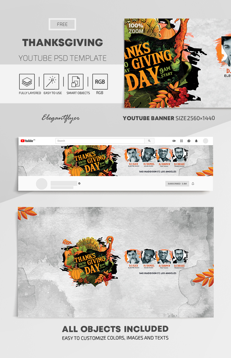 Thanksgiving – Free Youtube Channel banner PSD Template