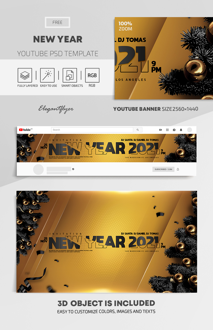 New Year – Free Youtube Channel banner PSD Template