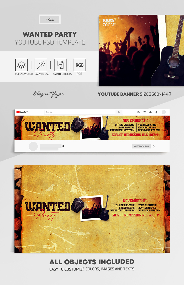 Wanted Party – Free Youtube Channel banner PSD Template