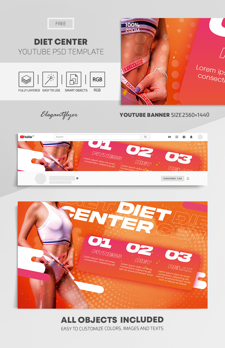 Diet Center – Free Youtube Channel banner PSD Template