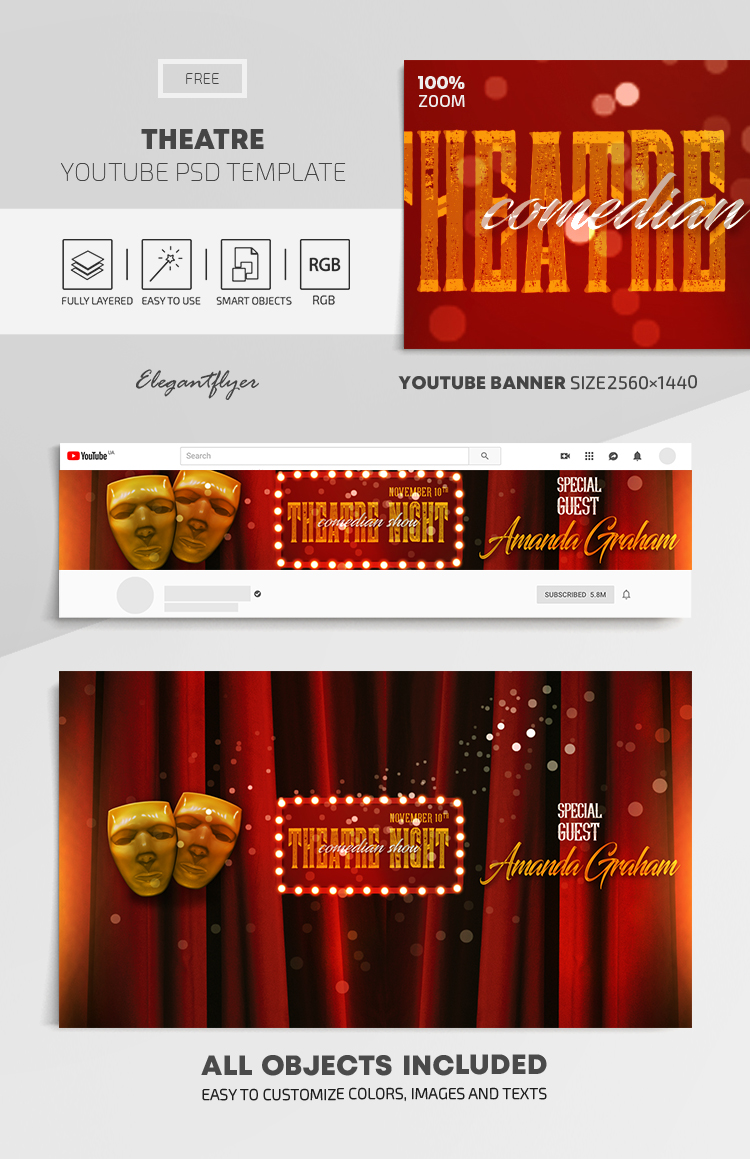 Theatre – Free Youtube Channel banner PSD Template