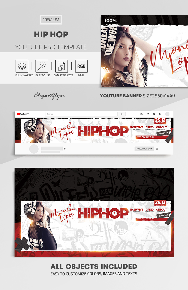 Hip Hop – Youtube Channel banner PSD Template